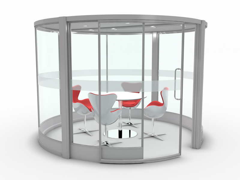 meeting pod full glazed with furniture