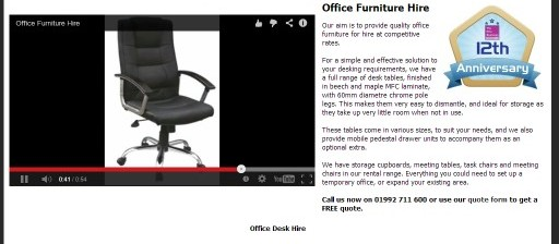 Office Furniture Hire Page Updated